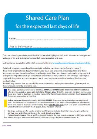 Sample Shared Care Plan