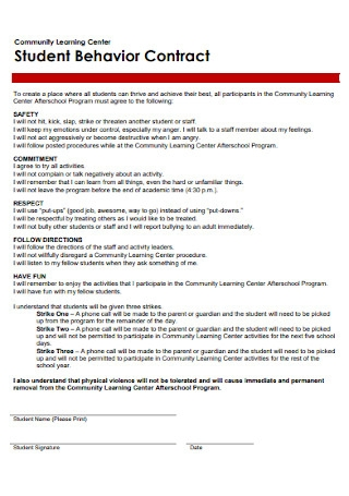 Sample Student Behavior Contract