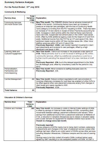 Sample Summary Variance Analysis