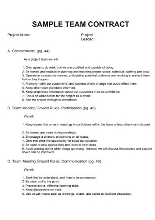 Sample Team Contract Template