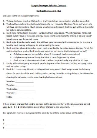 Sample Teenager Behavior Contract