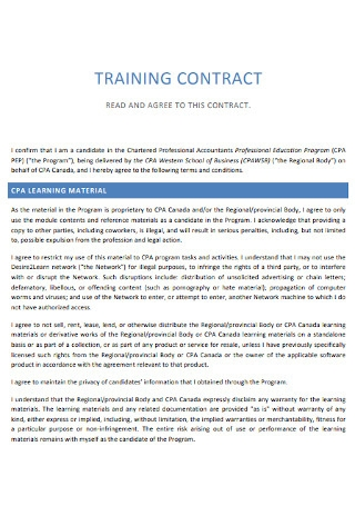 Sample Training Contract