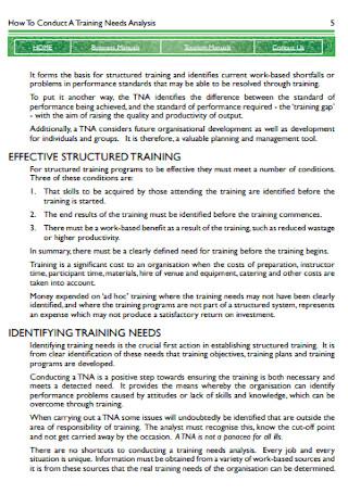 Sample Training Needs Analysis Template