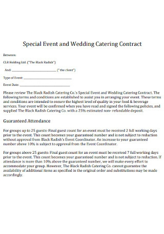 Sample Wedding Catering Contract