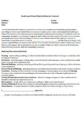 School Behavior Contract