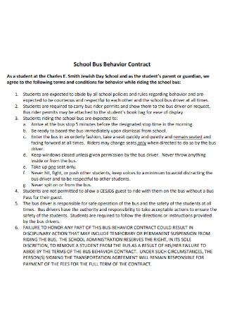 School Bus Behavior Contract