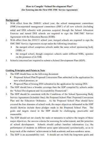 School Development Plan Example