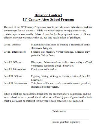 School Program Behavior Contract