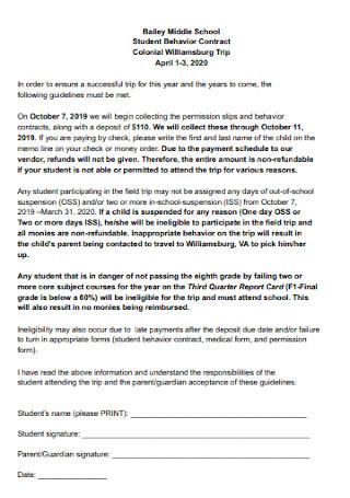 School Student Behavior Contract