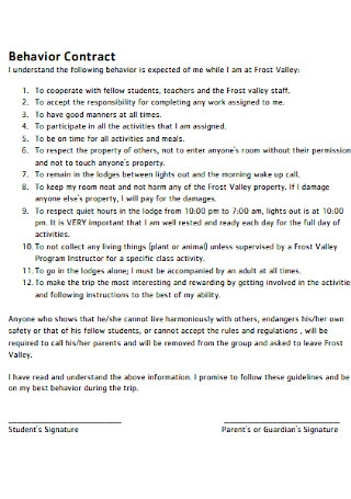 School Triip Behavior Contract