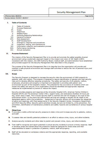 Security Management Plan Template
