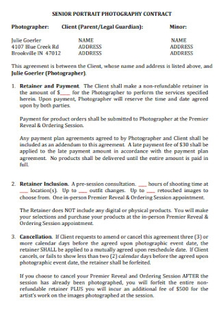 Senior Portrait Photography Contract