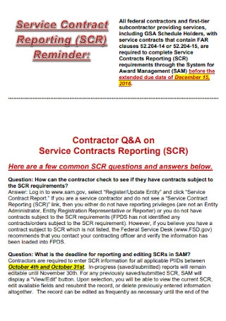 Service Contract Report