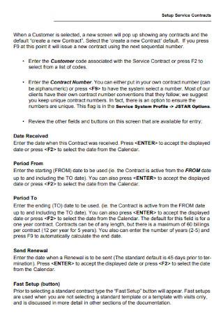 Setup Service Contract