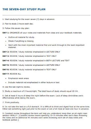Seven Day Study Plan