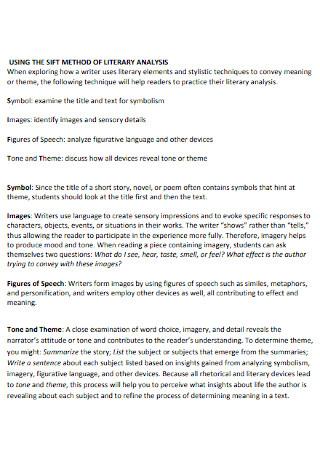 Sift Methods of Literary Analysis