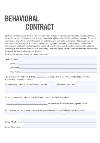 Simple Behavior Contract Template