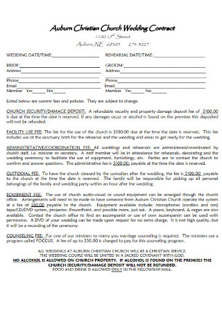 Simple Church Wedding Contract