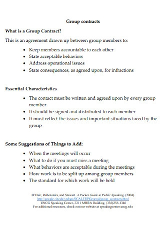 Simple Group Contracts Template
