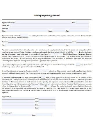 Simple Holding Deposit Agreement