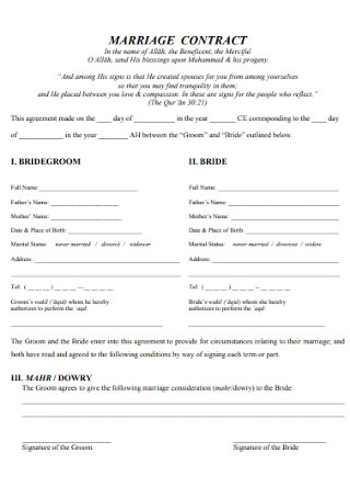 Simple Marriage Contract Template