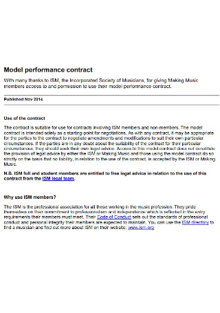 Simple Model Performance Contract