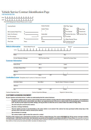 Simple Vehicle Service Contract