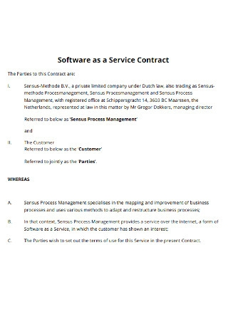 Software as a Service Contract