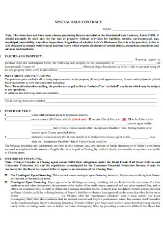 Special Sale Contract Template