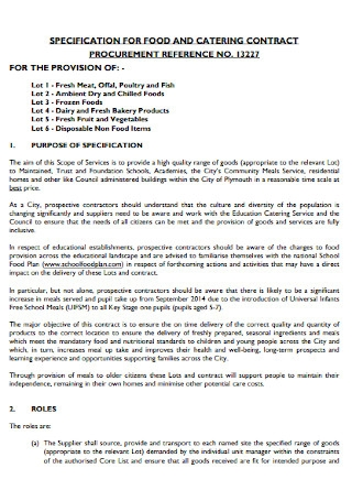Specification for Food and Catering Contract