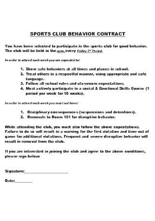 Sports Club Behavior Contract
