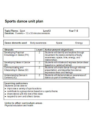 Sports Dance Unit Plan
