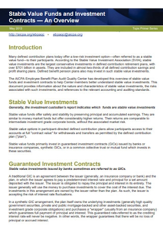 Stable Value Funds and Investment Contract