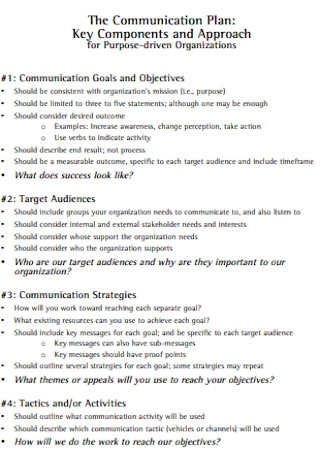 Standard Communication Plan Template