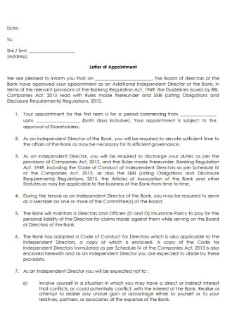 Standard Letter of Appointment Letter