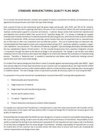 Standard Manufacturing Quality Plan