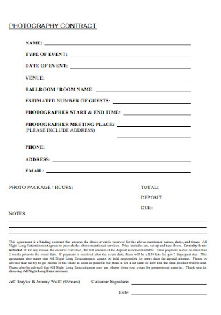 Standard Photography Contract Template