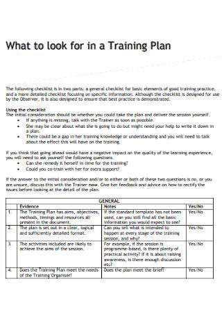 Standard Training Plan Template