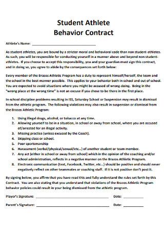 Student Athlete Behavior Contract