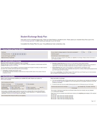 Student Exchange Study Plan