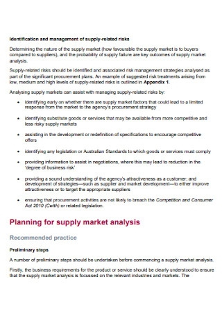 Supply Market Analysis Template