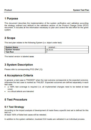 System Test Plan Template