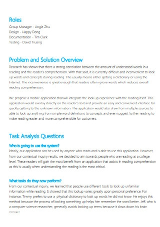 Task Analysis Report Template