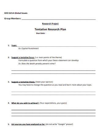 Tentative Research Plan