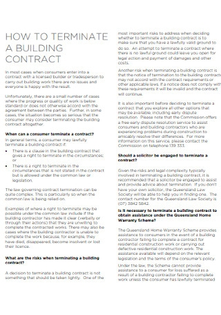Termination Building Contract