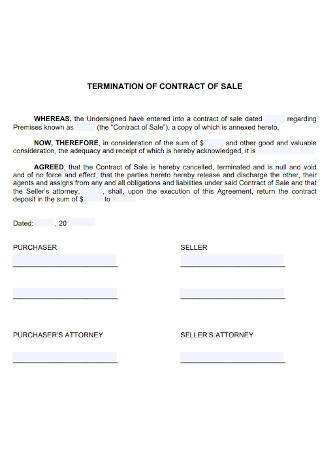 Termination of Contract for Sale