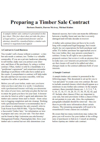 Timber Sale Contract Example
