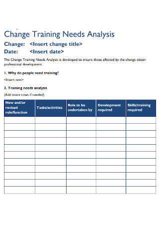 Training Change Needs Analysis