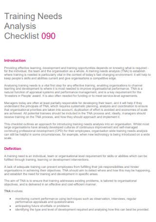 Training Needs Analysis Checklist
