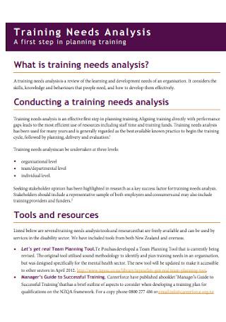 Training Needs Analysis Format